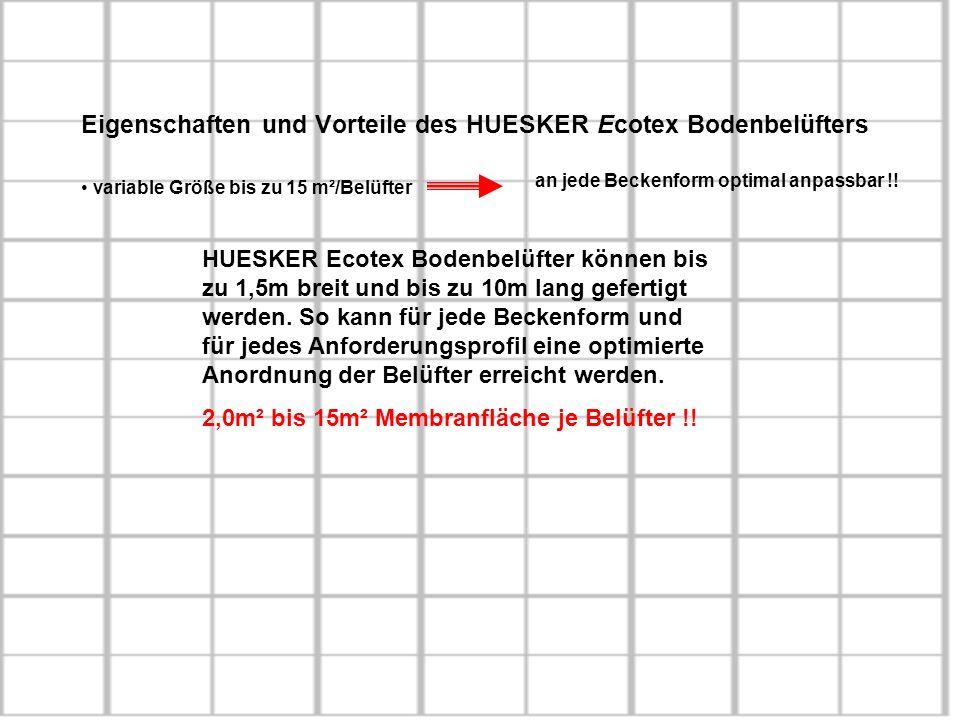 Eigenschaften und Vorteile des HUESKER Ecotex Bodenbelüfters variable Größe bis zu 15 m²/Belüfter an jede Beckenform optimal anpassbar !! HUESKER Ecot