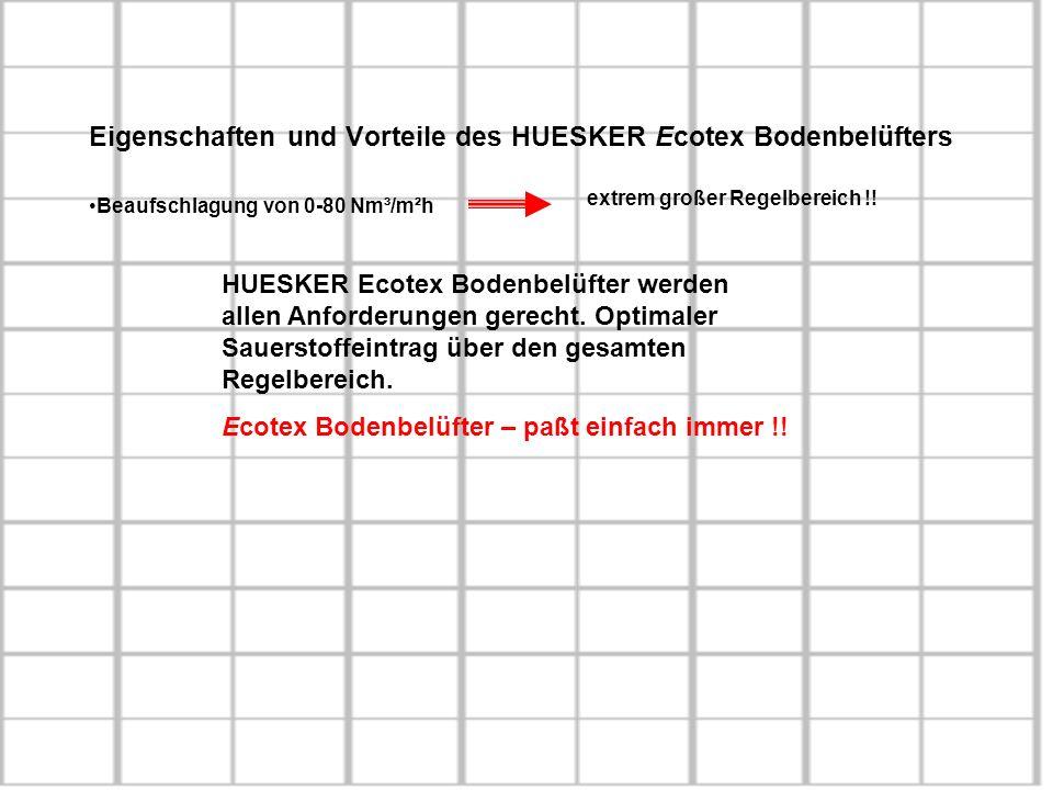 Eigenschaften und Vorteile des HUESKER Ecotex Bodenbelüfters Beaufschlagung von 0-80 Nm³/m²h extrem großer Regelbereich !! HUESKER Ecotex Bodenbelüfte