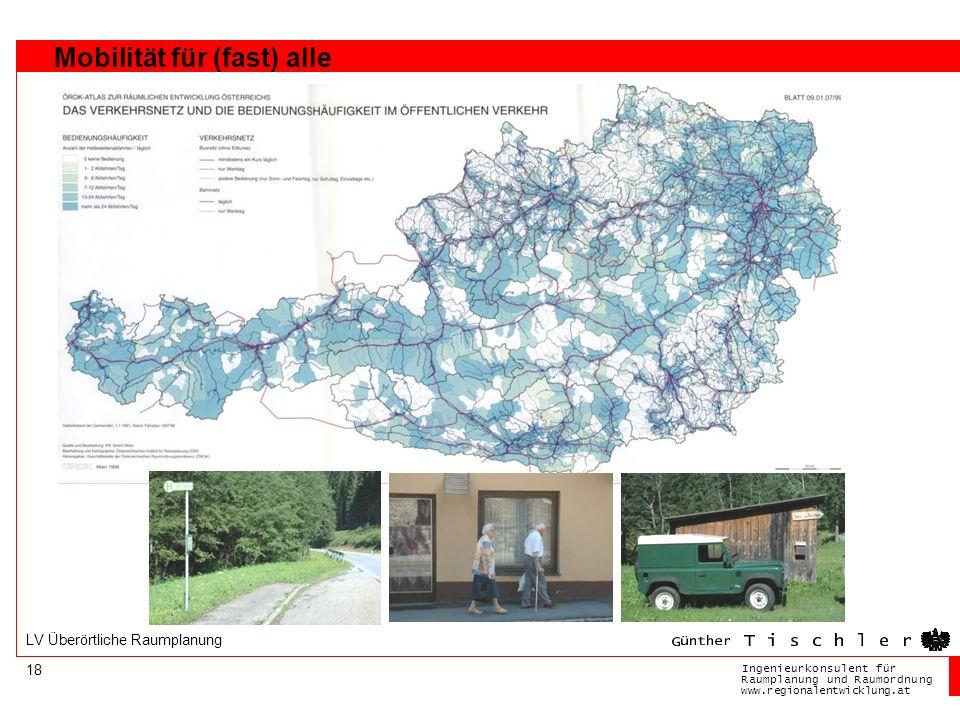 Ingenieurkonsulentfür RaumplanungundRaumordnung www.regionalentwicklung.at 18 LV Überörtliche Raumplanung Mobilität für (fast) alle