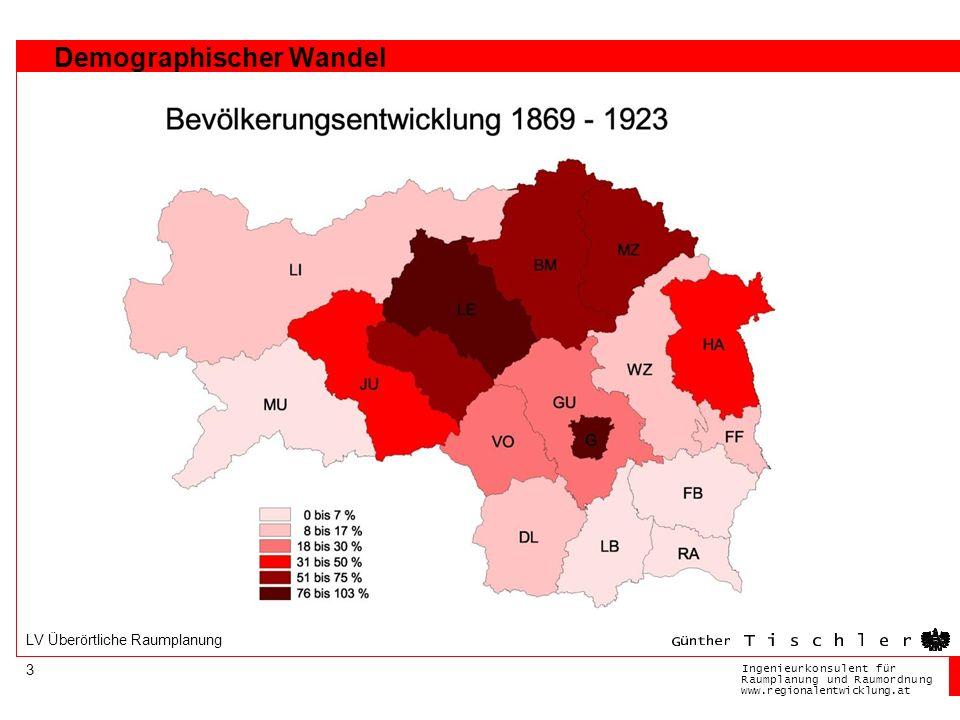 Ingenieurkonsulentfür RaumplanungundRaumordnung www.regionalentwicklung.at 3 LV Überörtliche Raumplanung Demographischer Wandel