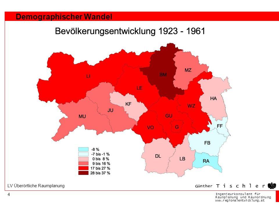 Ingenieurkonsulentfür RaumplanungundRaumordnung www.regionalentwicklung.at 4 LV Überörtliche Raumplanung Demographischer Wandel