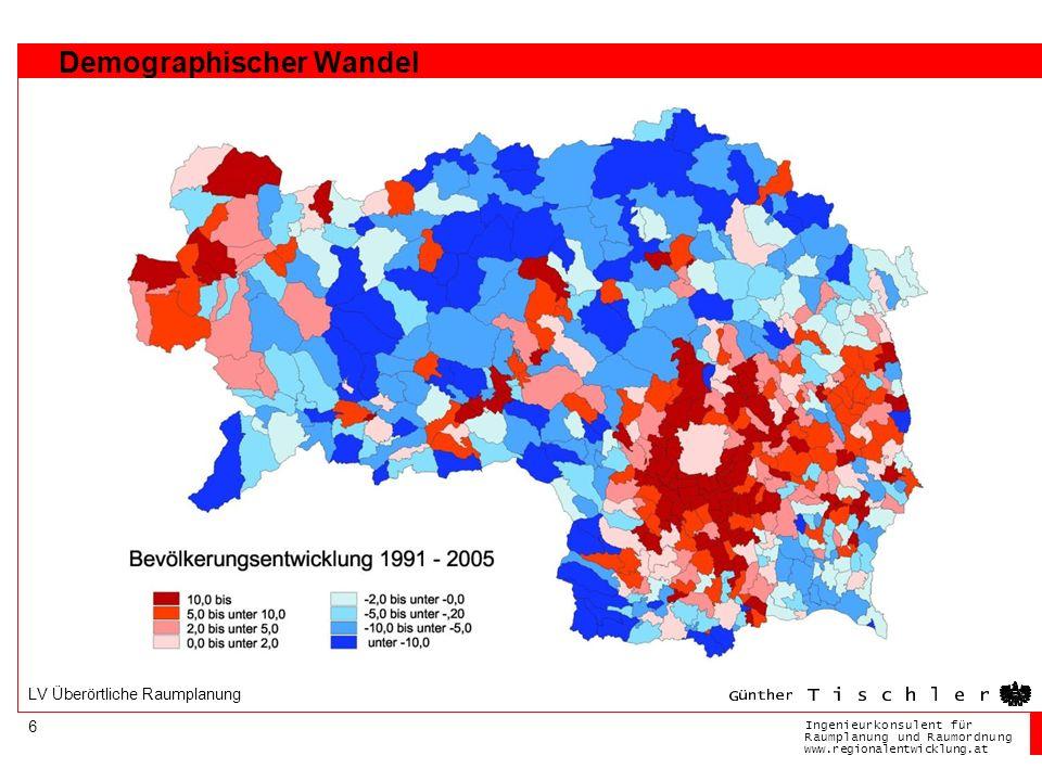 Ingenieurkonsulentfür RaumplanungundRaumordnung www.regionalentwicklung.at 6 LV Überörtliche Raumplanung Demographischer Wandel