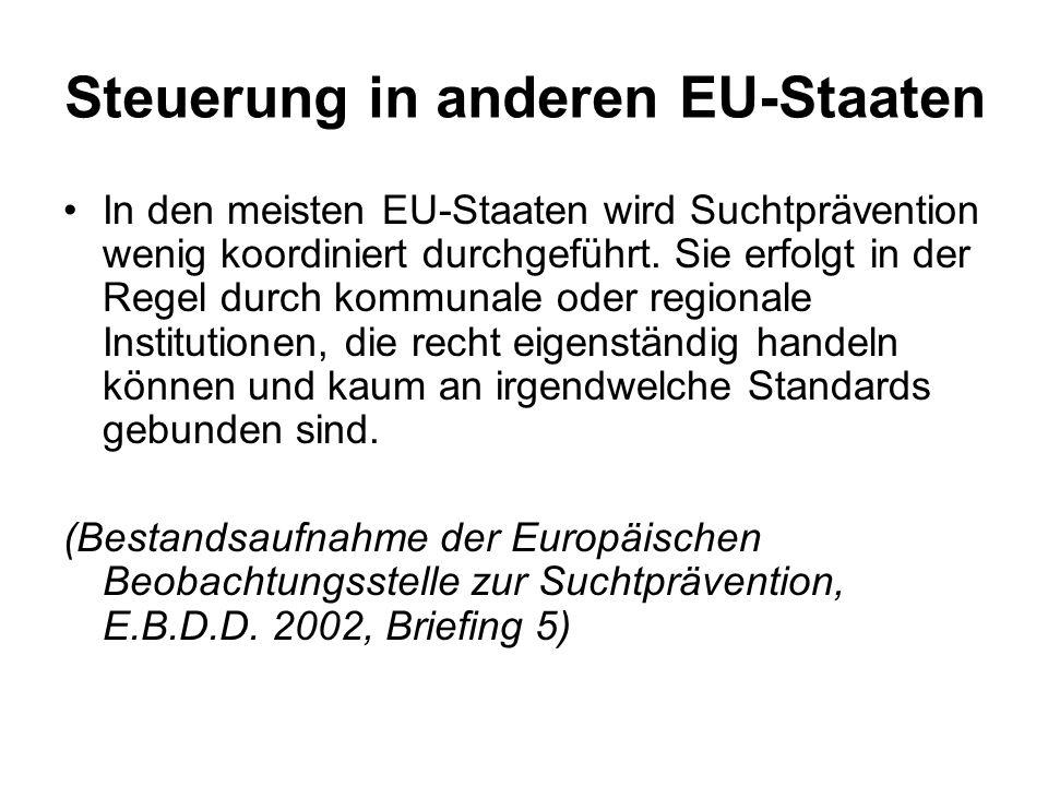 Steuerung in anderen EU-Staaten In den meisten EU-Staaten wird Suchtprävention wenig koordiniert durchgeführt.