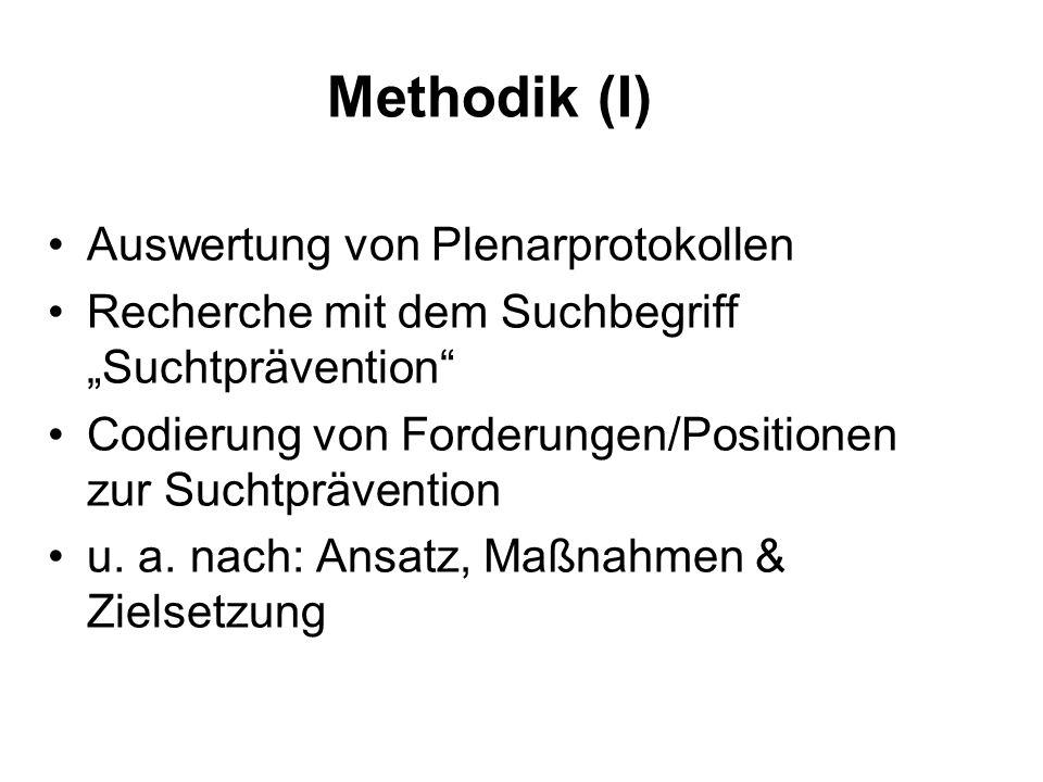 """Methodik (I) Auswertung von Plenarprotokollen Recherche mit dem Suchbegriff """"Suchtprävention Codierung von Forderungen/Positionen zur Suchtprävention u."""