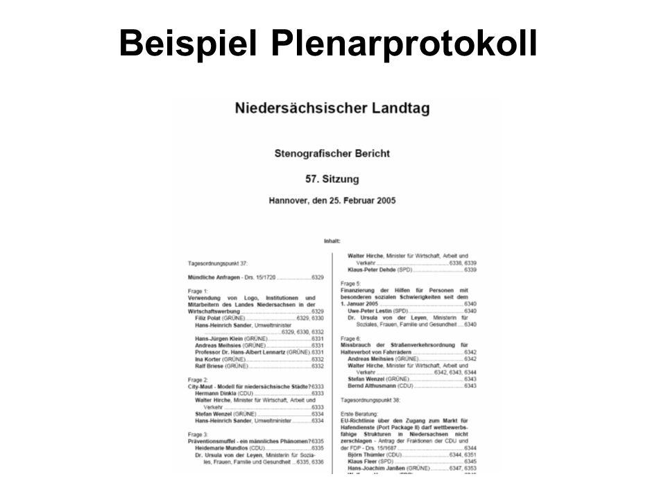 Beispiel Plenarprotokoll