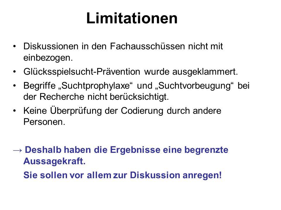 Limitationen Diskussionen in den Fachausschüssen nicht mit einbezogen.
