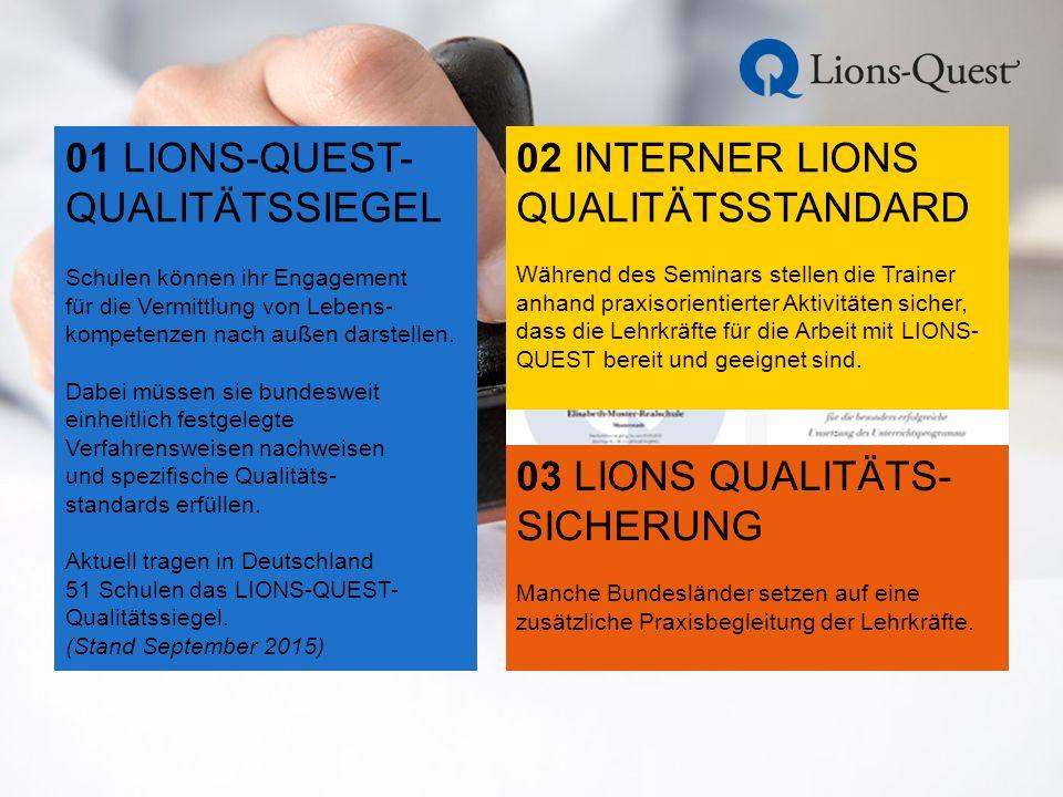01 LIONS-QUEST- QUALITÄTSSIEGEL Schulen können ihr Engagement für die Vermittlung von Lebens- kompetenzen nach außen darstellen.
