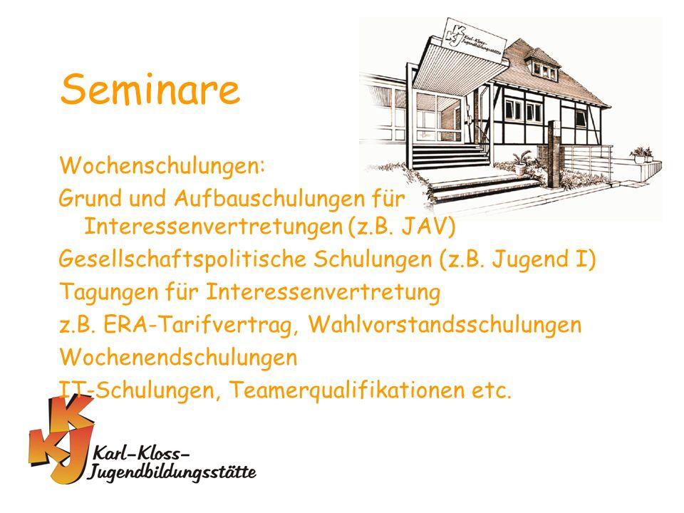 Seminare Wochenschulungen: Grund und Aufbauschulungen für Interessenvertretungen (z.B.