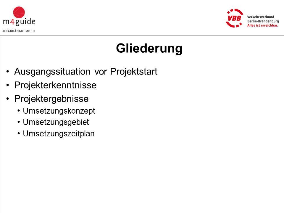 Gliederung Ausgangssituation vor Projektstart Projekterkenntnisse Projektergebnisse Umsetzungskonzept Umsetzungsgebiet Umsetzungszeitplan