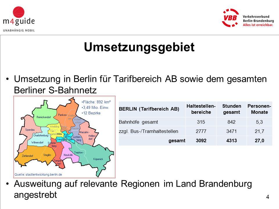 Umsetzungsgebiet Umsetzung in Berlin für Tarifbereich AB sowie dem gesamten Berliner S-Bahnnetz Ausweitung auf relevante Regionen im Land Brandenburg angestrebt Quelle: stadtentwicklung.berlin.de Fläche: 892 km² 3,49 Mio.