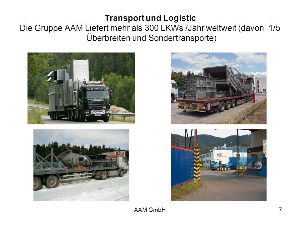 AAM GmbH7 Transport und Logistic Die Gruppe AAM Liefert mehr als 300 LKWs /Jahr weltweit (davon 1/5 Überbreiten und Sondertransporte)