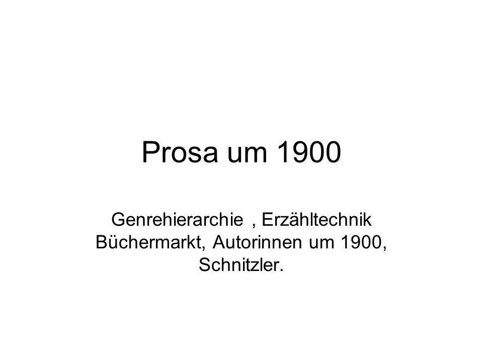 Prosa um 1900 Genrehierarchie, Erzähltechnik Büchermarkt, Autorinnen um 1900, Schnitzler.