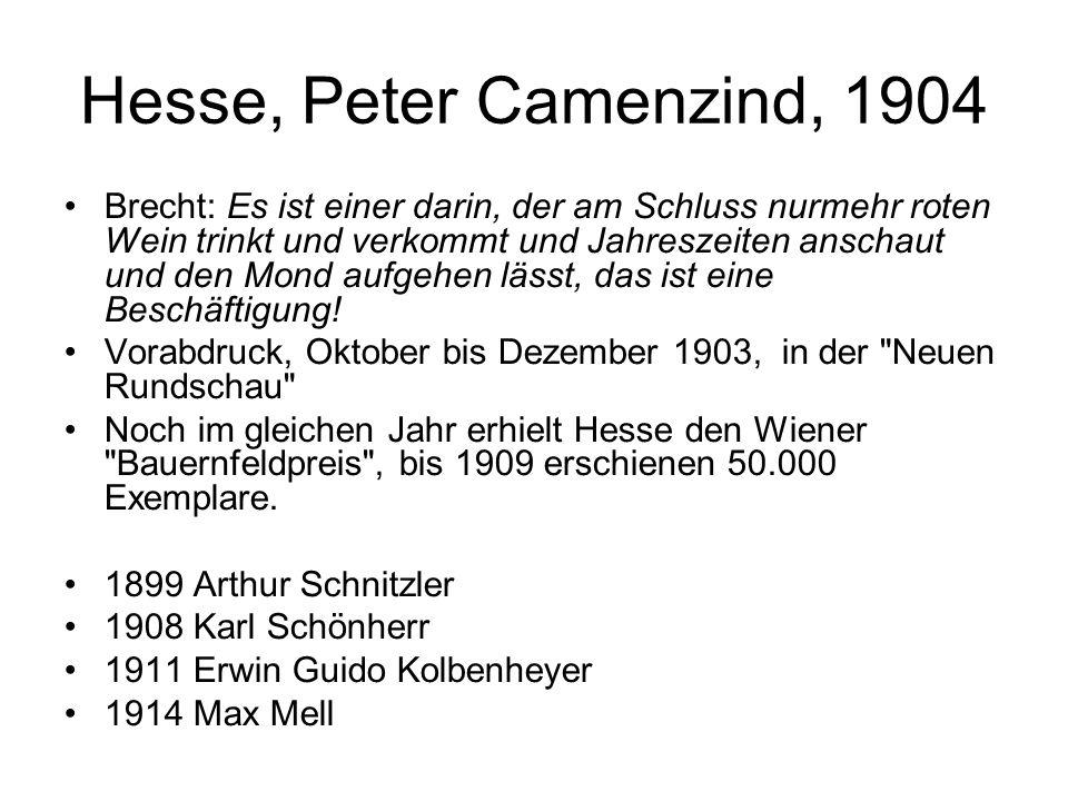 Hesse, Peter Camenzind, 1904 Brecht: Es ist einer darin, der am Schluss nurmehr roten Wein trinkt und verkommt und Jahreszeiten anschaut und den Mond aufgehen lässt, das ist eine Beschäftigung.