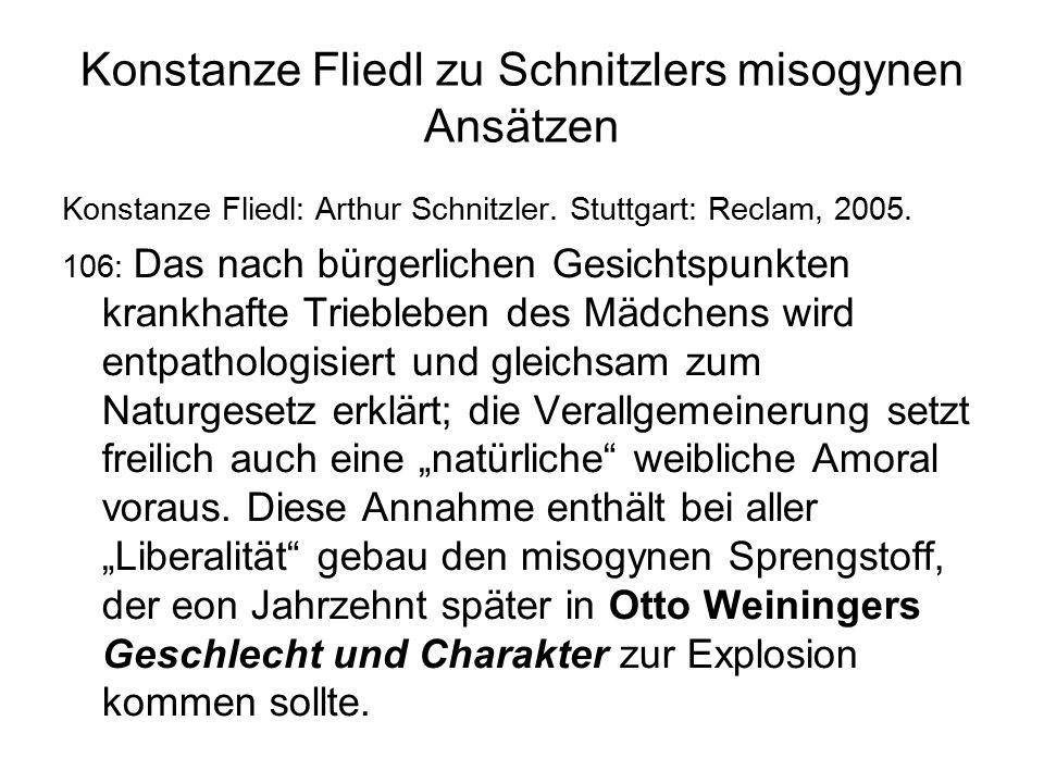 Konstanze Fliedl zu Schnitzlers misogynen Ansätzen Konstanze Fliedl: Arthur Schnitzler.