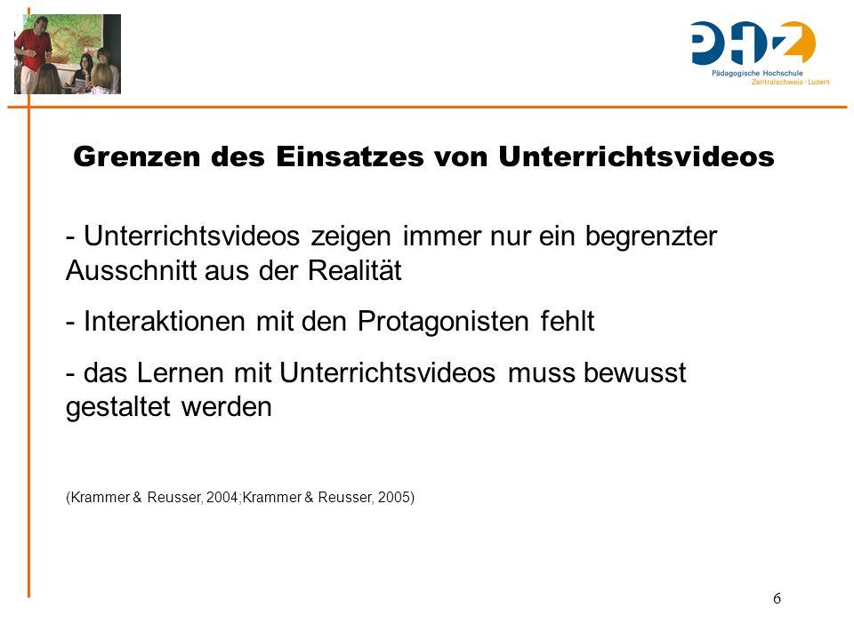 7 Formen des Einsatzes von Unterrichtsvideos in der Aus- und Weiterbildung von Lehrpersonen - Dimensionen der Arbeit mit Unterrichtsvideos:  Format  Inhalt  Ziel  Lernsetting (Krammer & Reusser, 2004)