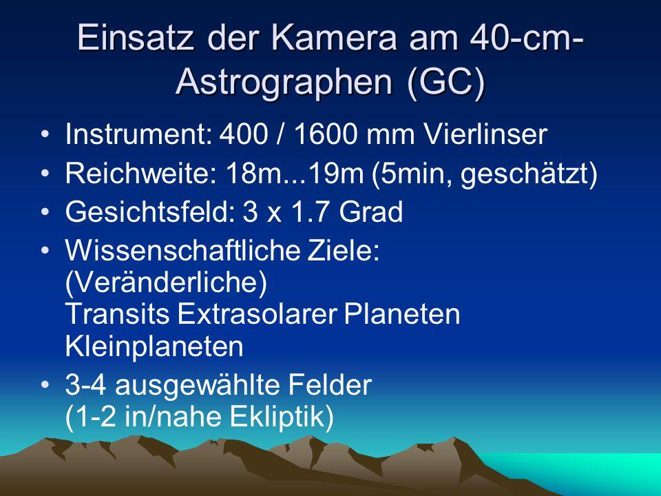 Einsatz der Kamera am 40-cm- Astrographen (GC) Instrument: 400 / 1600 mm Vierlinser Reichweite: 18m...19m (5min, geschätzt) Gesichtsfeld: 3 x 1.7 Grad Wissenschaftliche Ziele: (Veränderliche) Transits Extrasolarer Planeten Kleinplaneten 3-4 ausgewählte Felder (1-2 in/nahe Ekliptik)