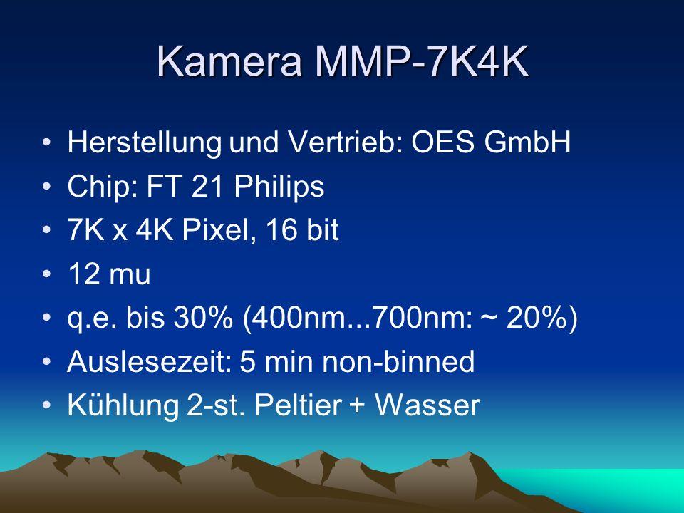 Kamera MMP-7K4K Herstellung und Vertrieb: OES GmbH Chip: FT 21 Philips 7K x 4K Pixel, 16 bit 12 mu q.e. bis 30% (400nm...700nm: ~ 20%) Auslesezeit: 5