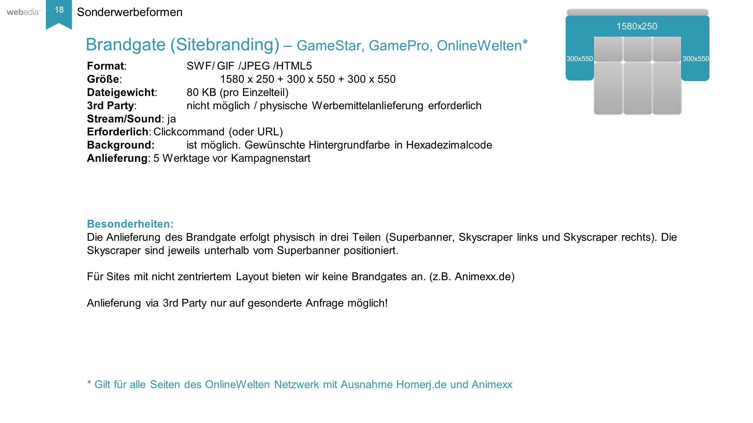 18 __________ Basis: Nielsen, Mai/2014. Sonderwerbeformen Format: SWF/ GIF /JPEG /HTML5 Größe:1580 x 250 + 300 x 550 + 300 x 550 Dateigewicht:80 KB (p
