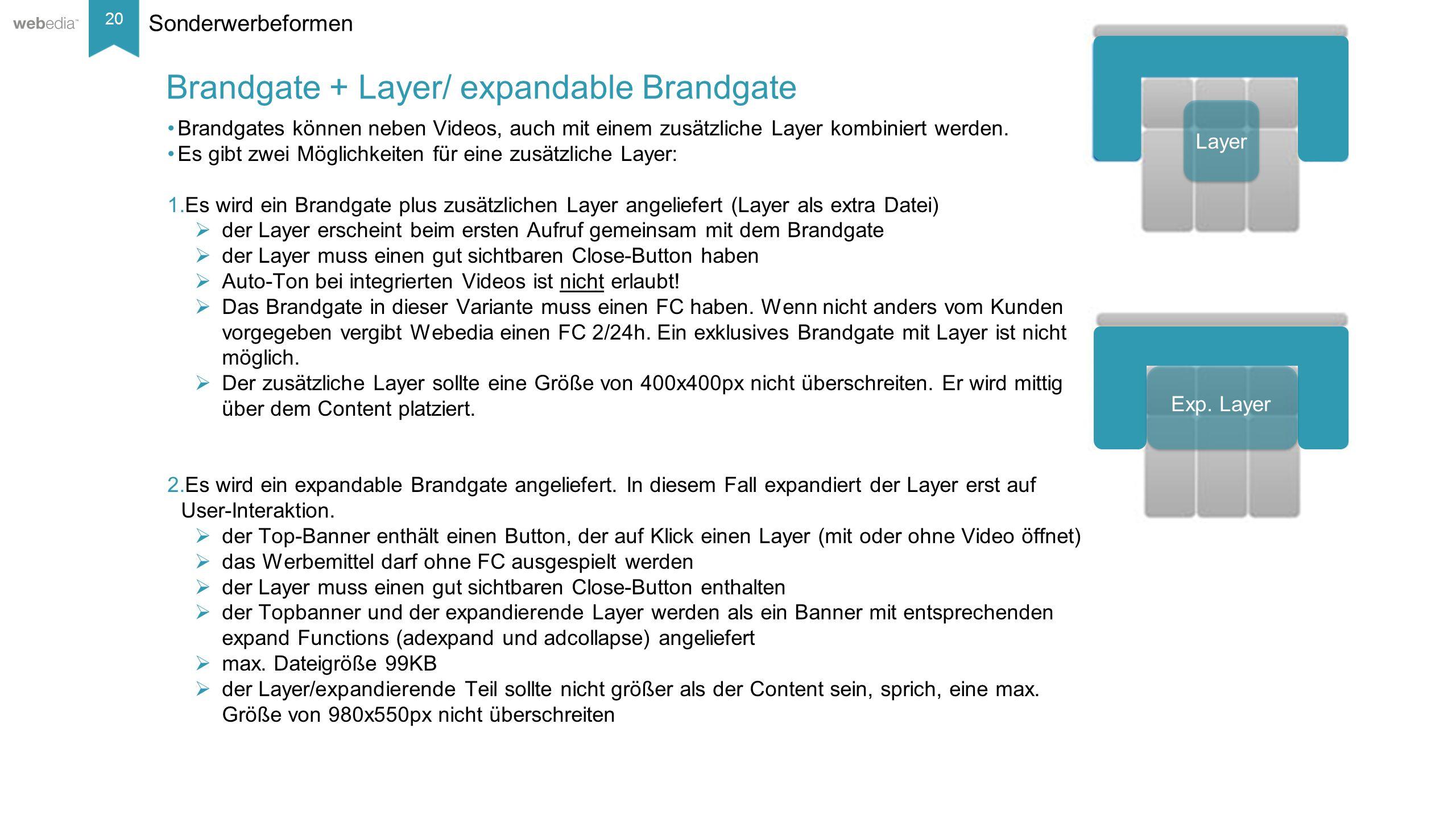 20 __________ Basis: Nielsen, Mai/2014. Sonderwerbeformen Brandgates können neben Videos, auch mit einem zusätzliche Layer kombiniert werden. Es gibt