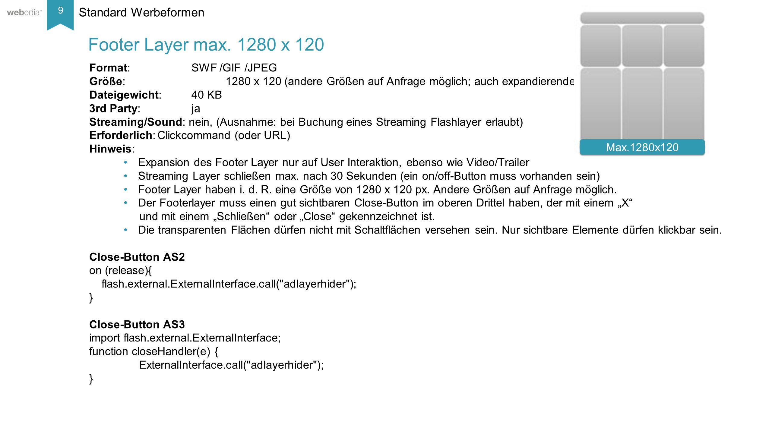 10 __________ Basis: Nielsen, Mai/2014. Technische Spezifikationen Sonderwebeformen