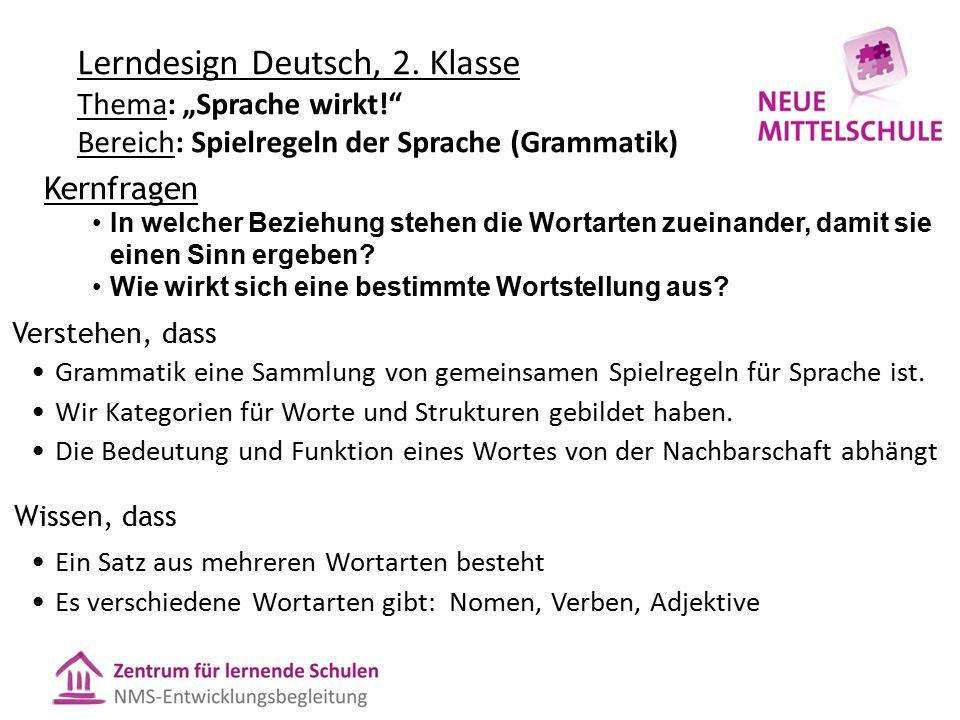 """Lerndesign Deutsch, 2. Klasse Thema: """"Sprache wirkt!"""" Bereich: Spielregeln der Sprache (Grammatik) Verstehen, dass Grammatik eine Sammlung von gemeins"""