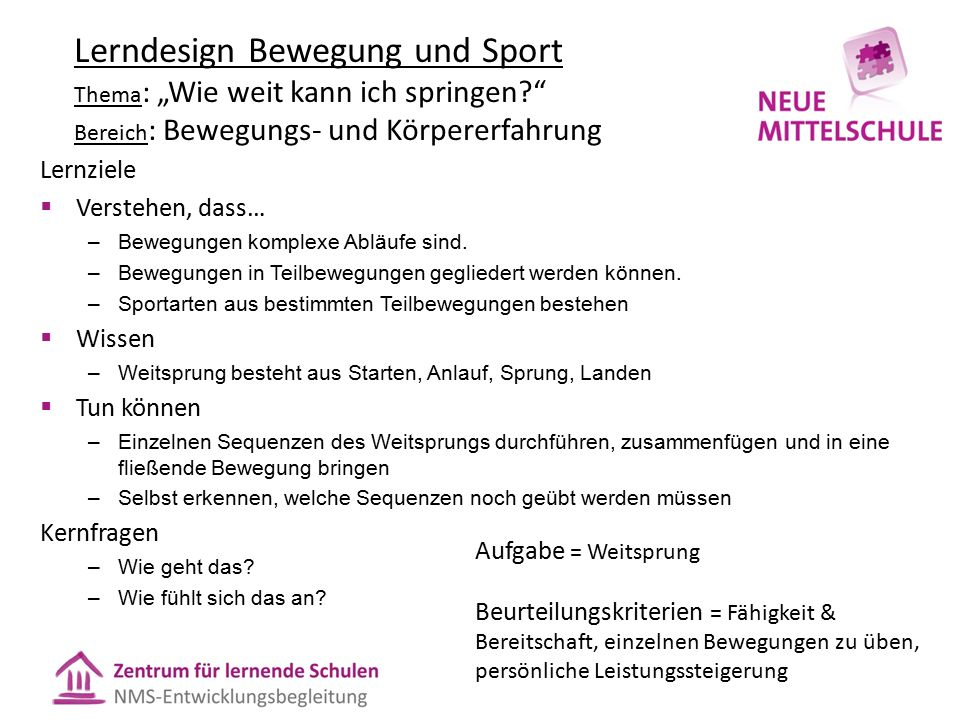 """Lerndesign Bewegung und Sport Thema : """"Wie weit kann ich springen?"""" Bereich : Bewegungs- und Körpererfahrung Lernziele  Verstehen, dass… –Bewegungen"""