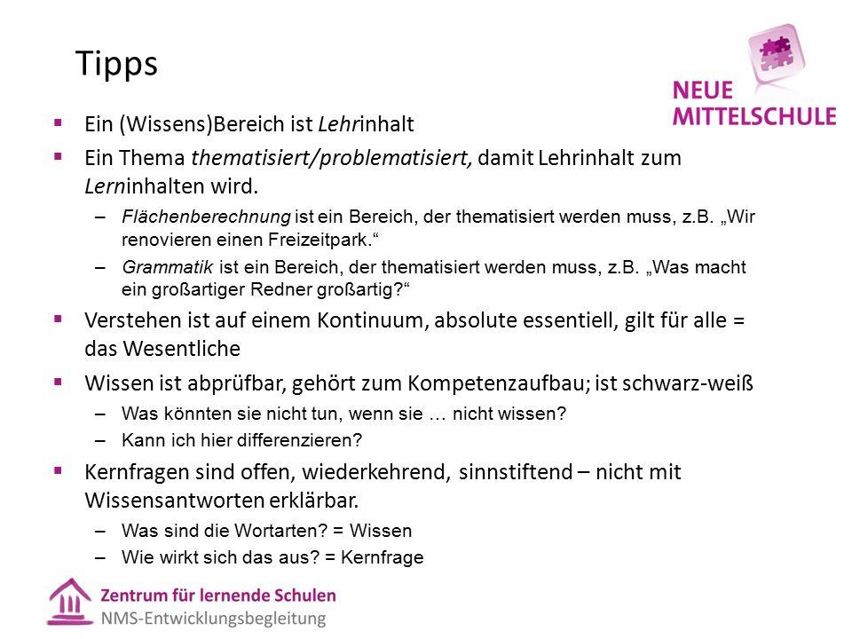 Tipps  Ein (Wissens)Bereich ist Lehrinhalt  Ein Thema thematisiert/problematisiert, damit Lehrinhalt zum Lerninhalten wird.
