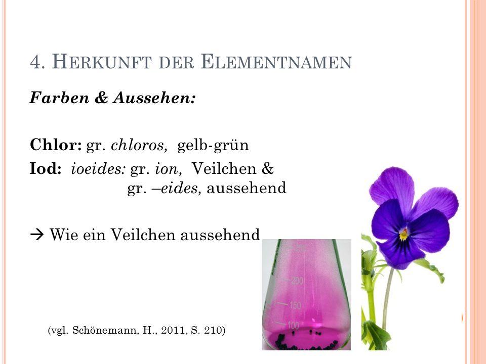 4. H ERKUNFT DER E LEMENTNAMEN Farben & Aussehen: Chlor: gr.