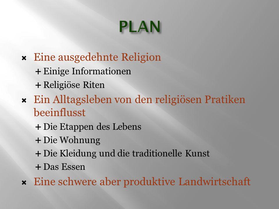  Eine ausgedehnte Religion  Einige Informationen  Religiöse Riten  Ein Alltagsleben von den religiösen Pratiken beeinflusst  Die Etappen des Lebe
