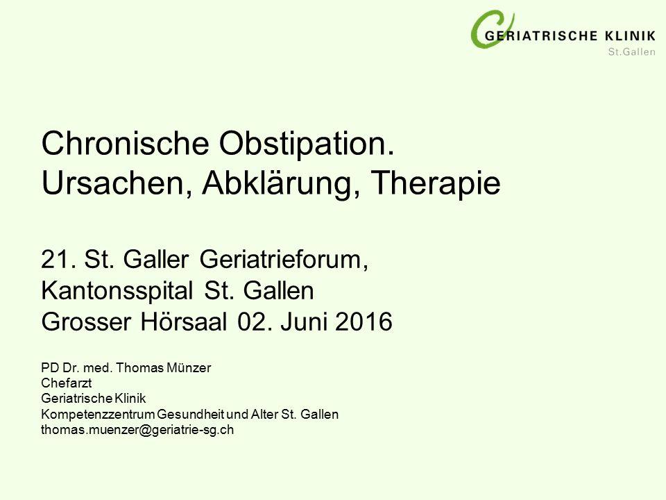 Chronische Obstipation.Ursachen, Abklärung, Therapie PD Dr.