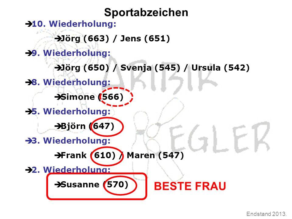 Endstand 2013. Sportabzeichen  10. Wiederholung:  Jörg (663) / Jens (651)  9. Wiederholung:  Jörg (650) / Svenja (545) / Ursula (542)  8. Wiederh