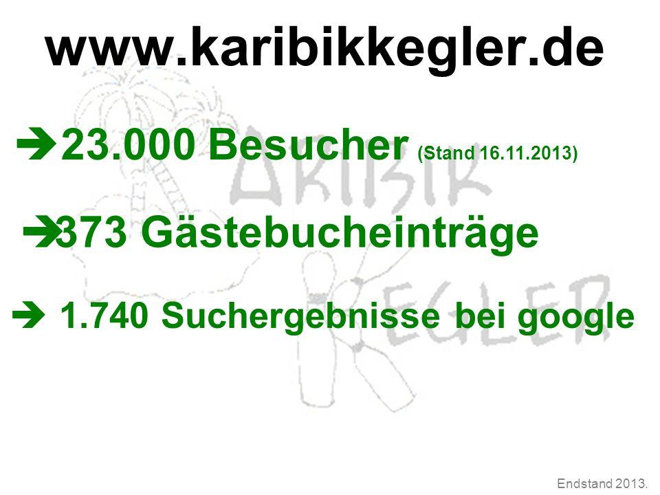 Endstand 2013. www.karibikkegler.de  23.000 Besucher (Stand 16.11.2013)  373 Gästebucheinträge  1.740 Suchergebnisse bei google