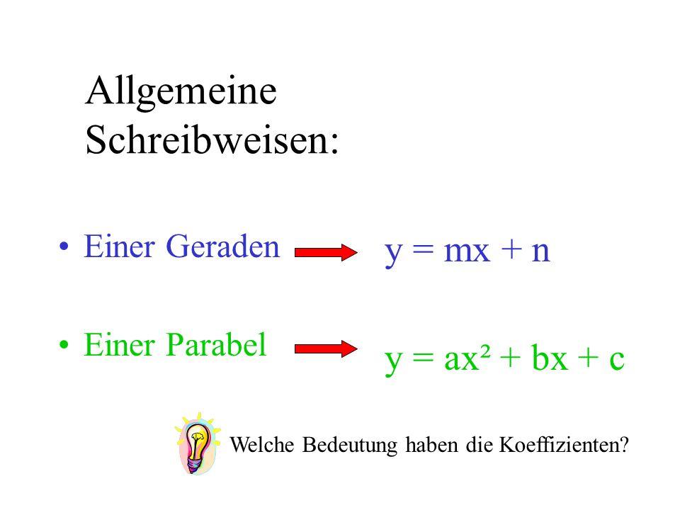 Allgemeine Schreibweisen: Einer Geraden Einer Parabel y = mx + n y = ax² + bx + c Welche Bedeutung haben die Koeffizienten?