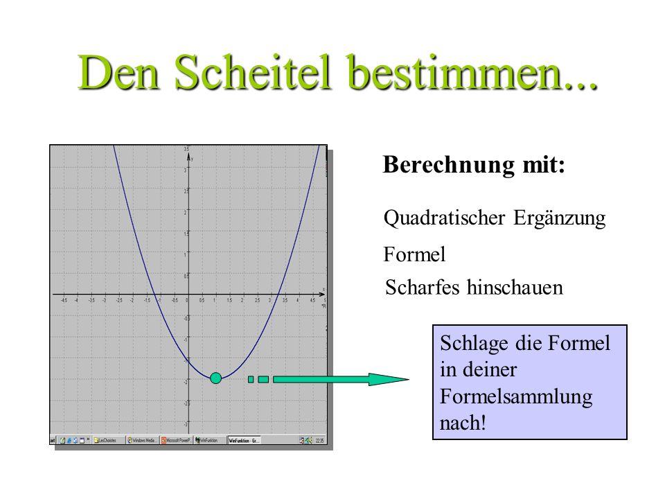 Den Scheitel bestimmen...Berechnung mit: Schlage die Formel in deiner Formelsammlung nach.