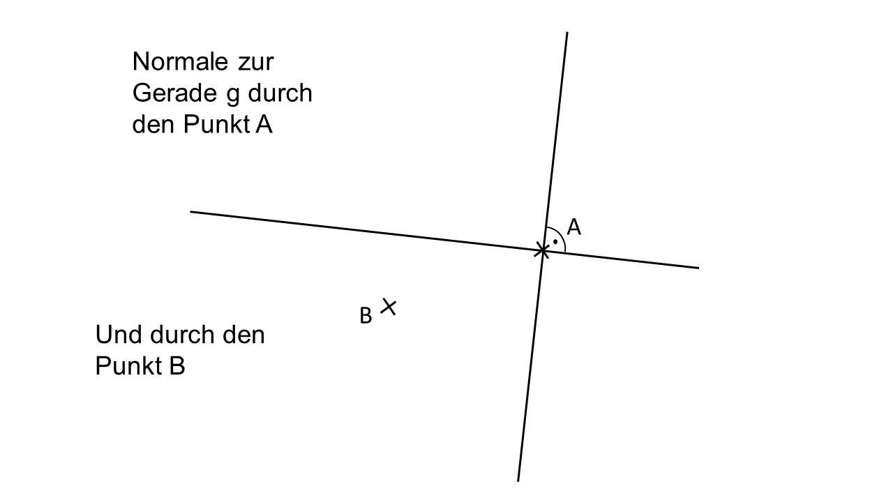 Normale zur Gerade g durch den Punkt A A Und durch den Punkt B B