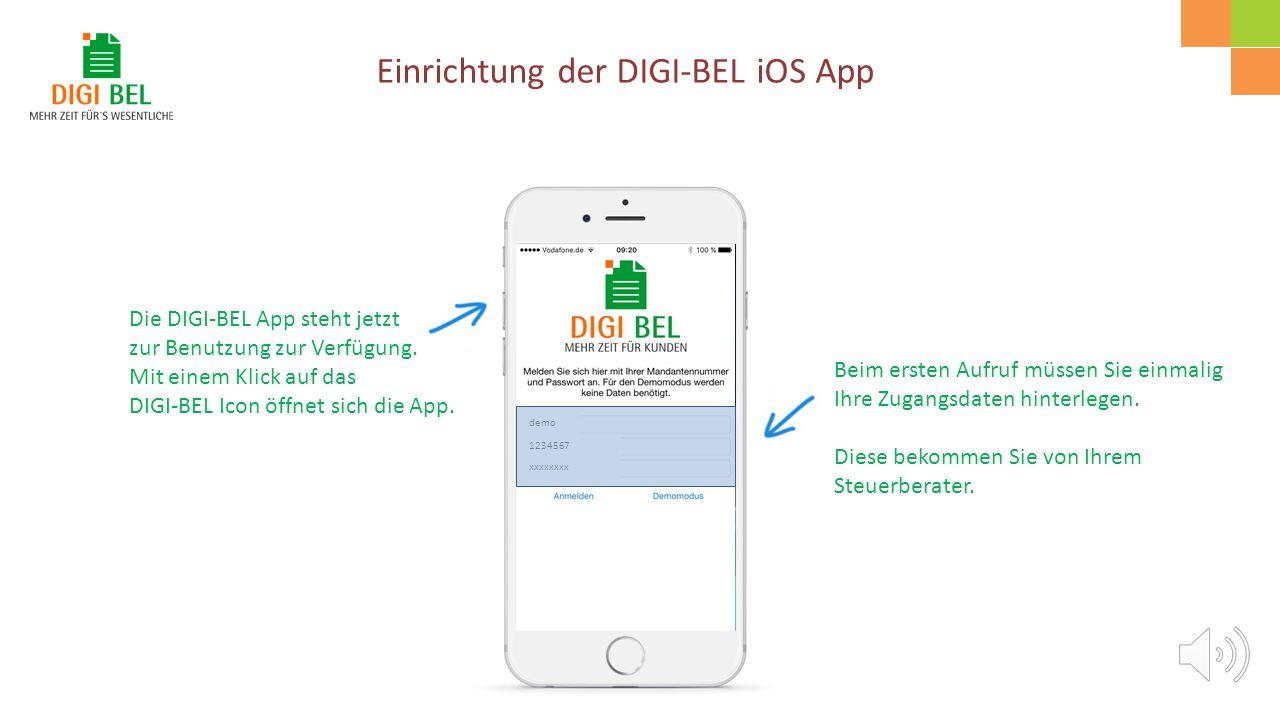"""Rufen Sie den Apple-Appstore auf und suchen Sie nach """"DIGI-BEL"""". Mit einem Klick auf """"LADEN"""" wird die App auf Ihr Smartphone heruntergeladen und insta"""