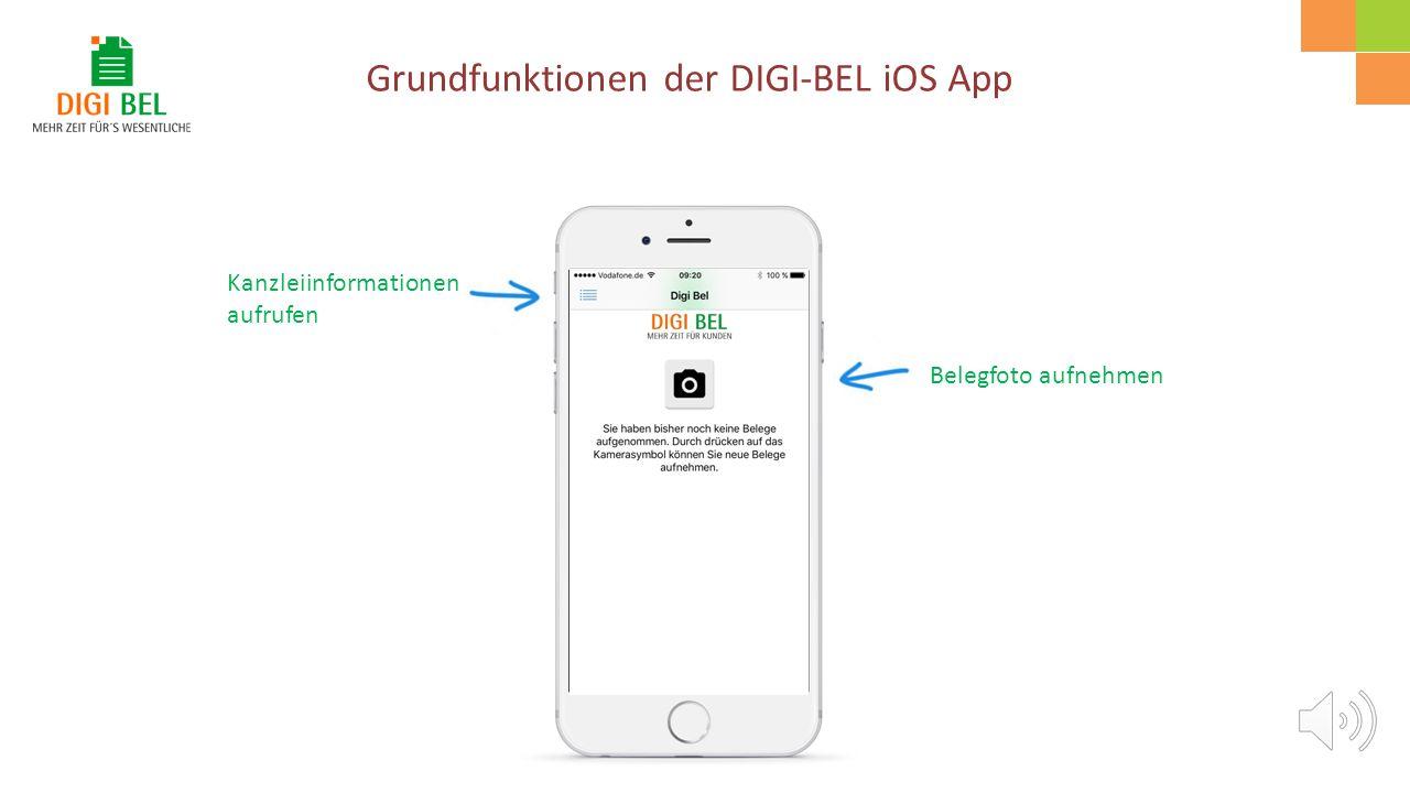 Die DIGI-BEL App steht jetzt zur Benutzung zur Verfügung. Mit einem Klick auf das DIGI-BEL Icon öffnet sich die App. Beim ersten Aufruf müssen Sie ein