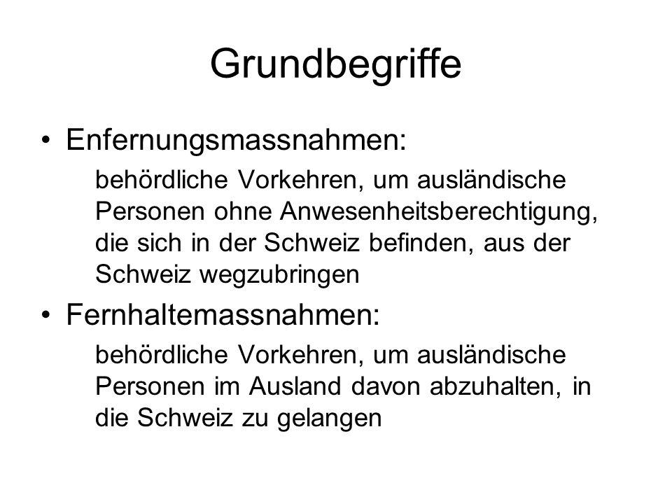 Grundbegriffe Enfernungsmassnahmen: behördliche Vorkehren, um ausländische Personen ohne Anwesenheitsberechtigung, die sich in der Schweiz befinden, aus der Schweiz wegzubringen Fernhaltemassnahmen: behördliche Vorkehren, um ausländische Personen im Ausland davon abzuhalten, in die Schweiz zu gelangen