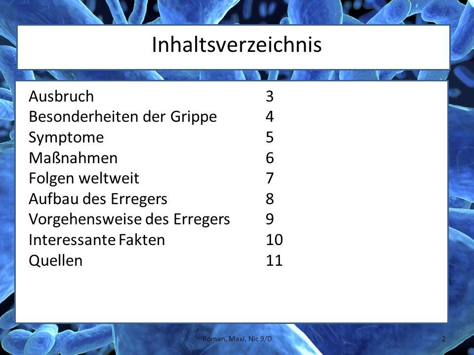 Inhaltsverzeichnis Ausbruch3 Besonderheiten der Grippe4 Symptome5 Maßnahmen6 Folgen weltweit7 Aufbau des Erregers8 Vorgehensweise des Erregers9 Intere