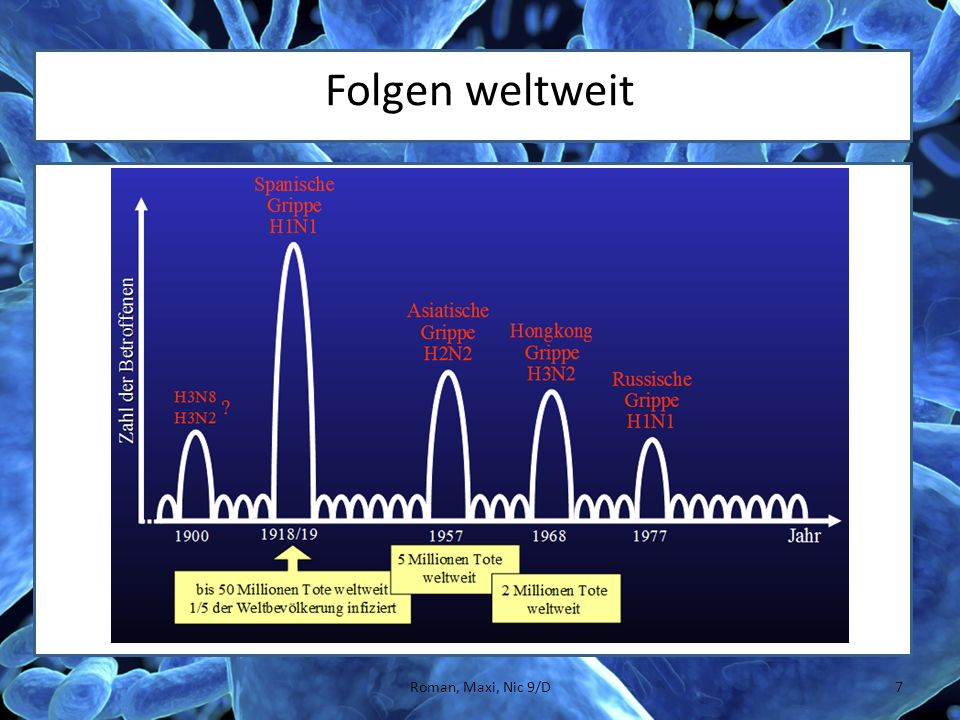 Aufbau des Erregers 8Roman, Maxi, Nic 9/D Membran → Hilft das Immunsystem zu überlisten Proteine → Hilft in die Wirtszelle einzutreten Genom → Infos zum Bau Interne Proteine → Vervielfältigung