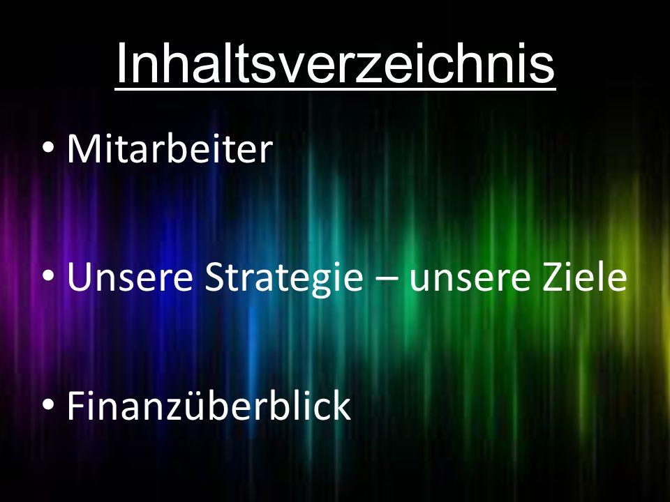 Inhaltsverzeichnis Mitarbeiter Unsere Strategie – unsere Ziele Finanzüberblick