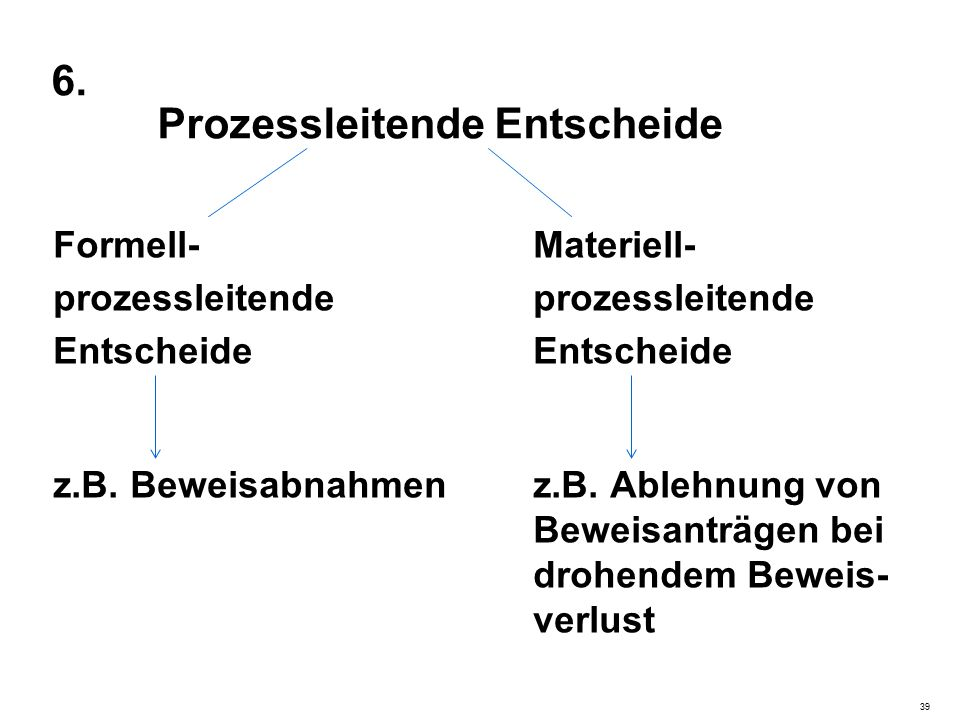 6. Prozessleitende Entscheide Formell-Materiell-prozessleitendeEntscheide z.B.
