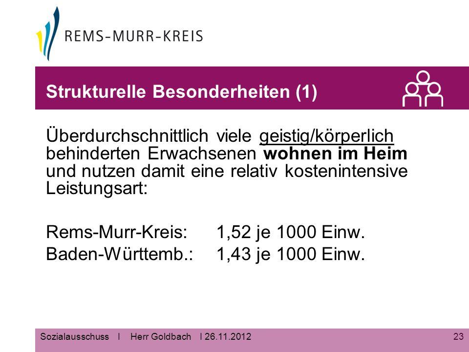 23Sozialausschuss I Herr Goldbach I 26.11.2012 Strukturelle Besonderheiten (1) Überdurchschnittlich viele geistig/körperlich behinderten Erwachsenen wohnen im Heim und nutzen damit eine relativ kostenintensive Leistungsart: Rems-Murr-Kreis: 1,52 je 1000 Einw.