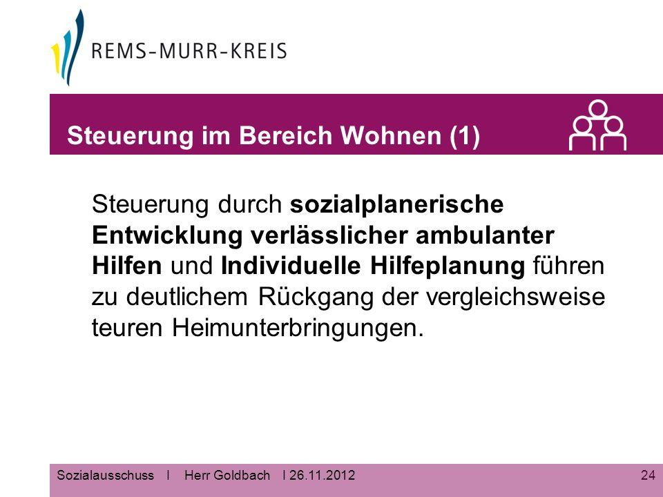 24Sozialausschuss I Herr Goldbach I 26.11.2012 Steuerung im Bereich Wohnen (1) Steuerung durch sozialplanerische Entwicklung verlässlicher ambulanter Hilfen und Individuelle Hilfeplanung führen zu deutlichem Rückgang der vergleichsweise teuren Heimunterbringungen.