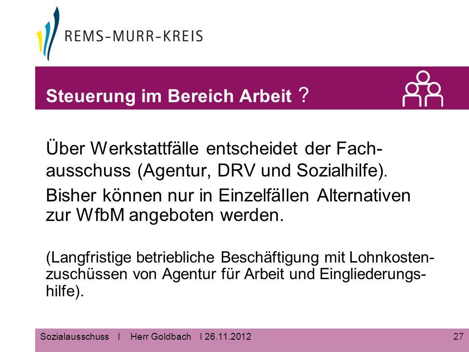 27Sozialausschuss I Herr Goldbach I 26.11.2012 Steuerung im Bereich Arbeit .