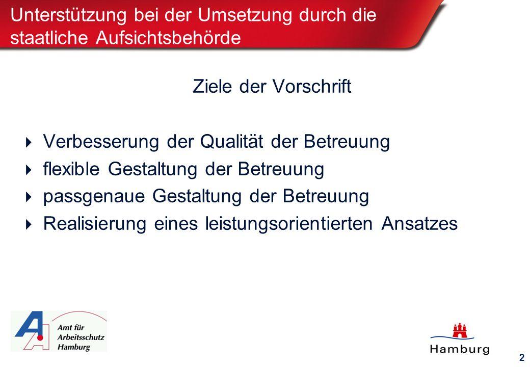 2 Unterstützung bei der Umsetzung durch die staatliche Aufsichtsbehörde Ziele der Vorschrift  Verbesserung der Qualität der Betreuung  flexible Gestaltung der Betreuung  passgenaue Gestaltung der Betreuung  Realisierung eines leistungsorientierten Ansatzes