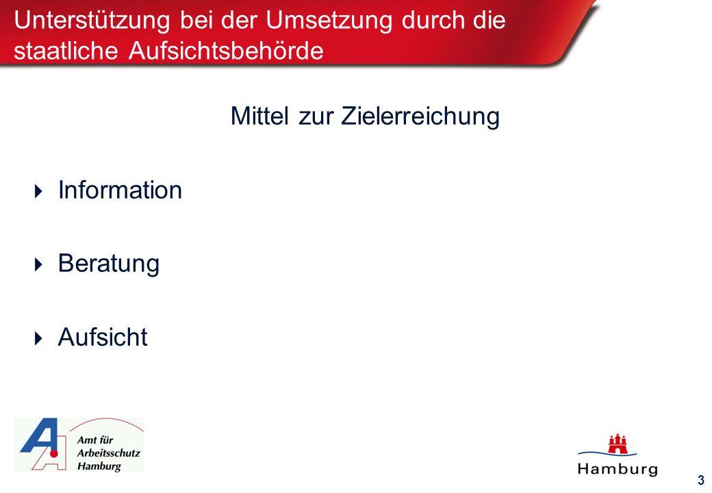 3 Unterstützung bei der Umsetzung durch die staatliche Aufsichtsbehörde Mittel zur Zielerreichung  Information  Beratung  Aufsicht