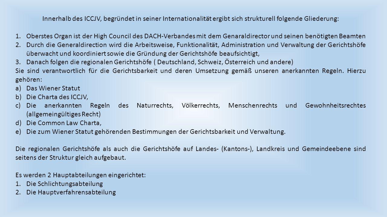 Innerhalb des ICCJV, begründet in seiner Internationalität ergibt sich strukturell folgende Gliederung: 1.Oberstes Organ ist der High Council des DACH