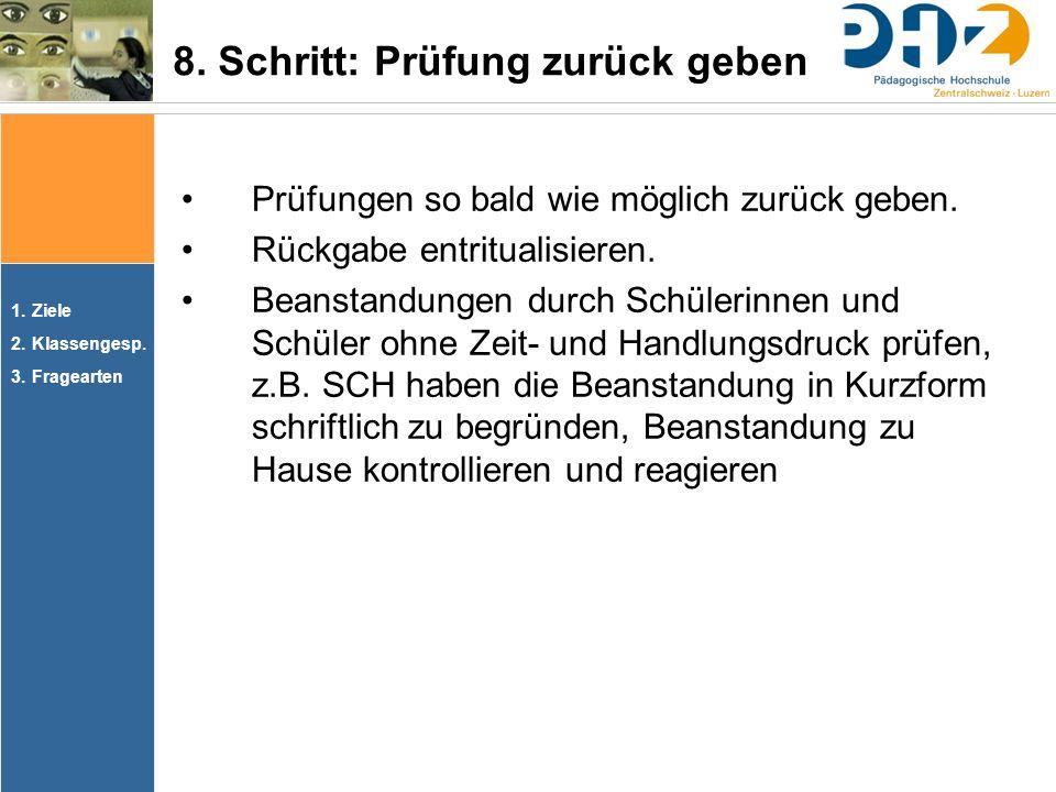 1.Ziele 2.Klassengesp. 3.Fragearten Prüfungen so bald wie möglich zurück geben.