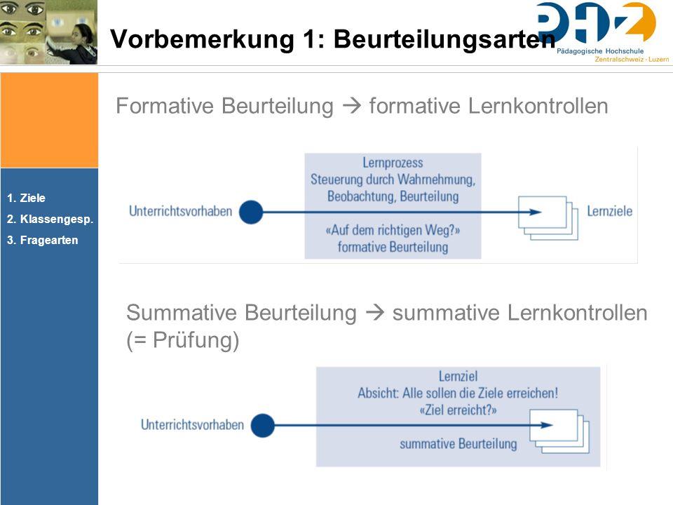1.Ziele 2.Klassengesp. 3.Fragearten Formative Beurteilung  formative Lernkontrollen Vorbemerkung 1: Beurteilungsarten Summative Beurteilung  summati